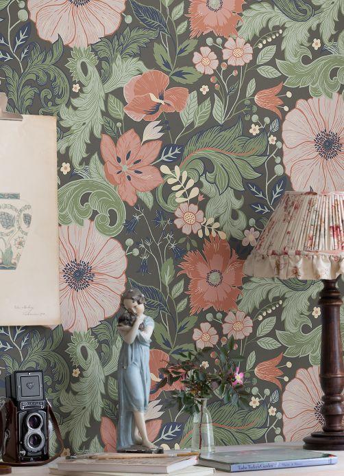 Floral Wallpaper Wallpaper Smilla grey brown Room View