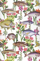 Wallpaper Pantea Matt Flowers Fishes White Brown Shades of green Orange Violet tones