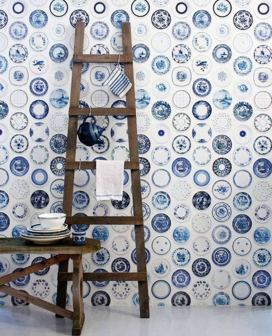 Papier peint porcellain 02 blanc bleu blanc gris papier peint des ann e - Papier peint annee 70 ...