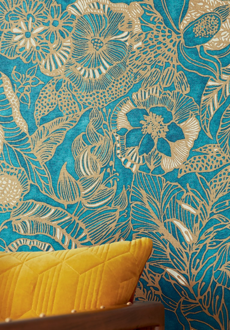 Wallpaper Welamie Aqua Shimmer Cream Matt Gold Wallpaper