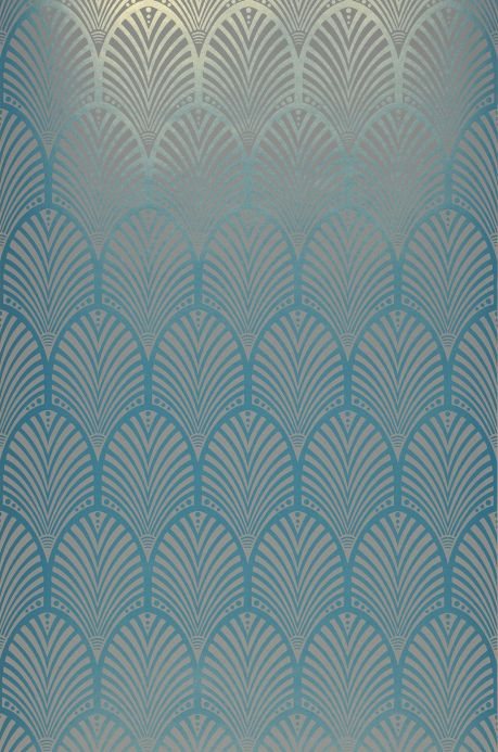 Art Deco Wallpaper Wallpaper Lyria turquoise blue shimmer Roll Width