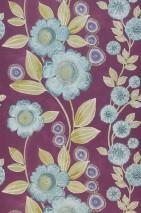 Papier peint Esperanza Mat Vrilles de fleur Violet bordeaux Mauve bleu Vert fougère Turquoise menthe