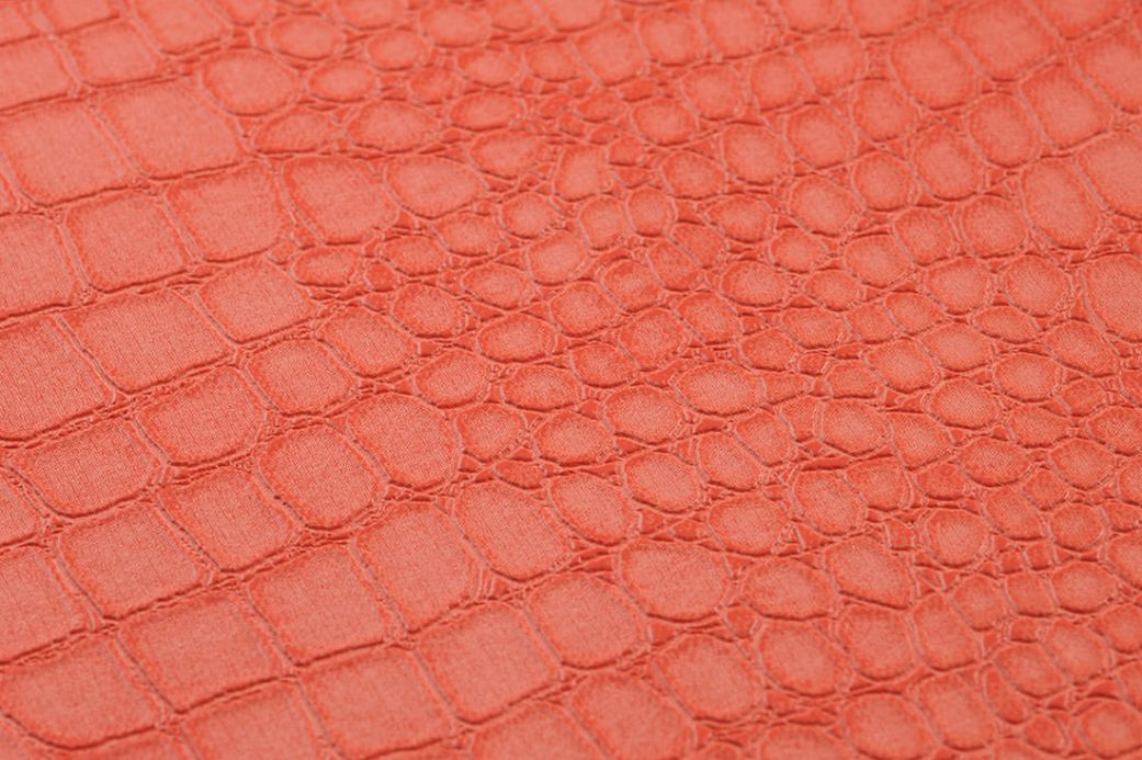 Faux Leather Wallpaper Wallpaper Caiman salmon orange Detail View