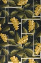 Papier peint Genevieve Mat Feuilles Éléments graphiques Fleurs stylisées Vert noir Blanc crème brillant Jaune curry Vert olive Vert jonc