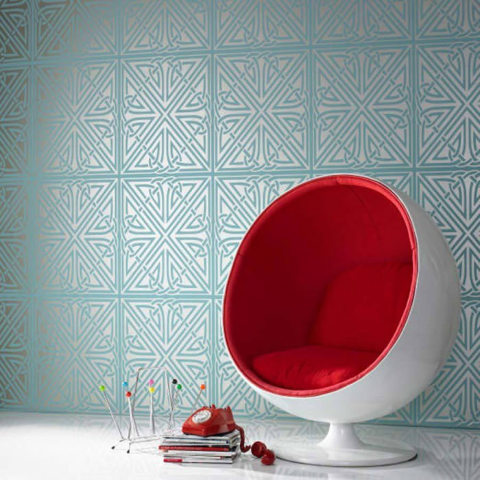 Wallpaper Chantico Matt pattern Shimmering base surface Geometrical shapes White gold Turquoise blue