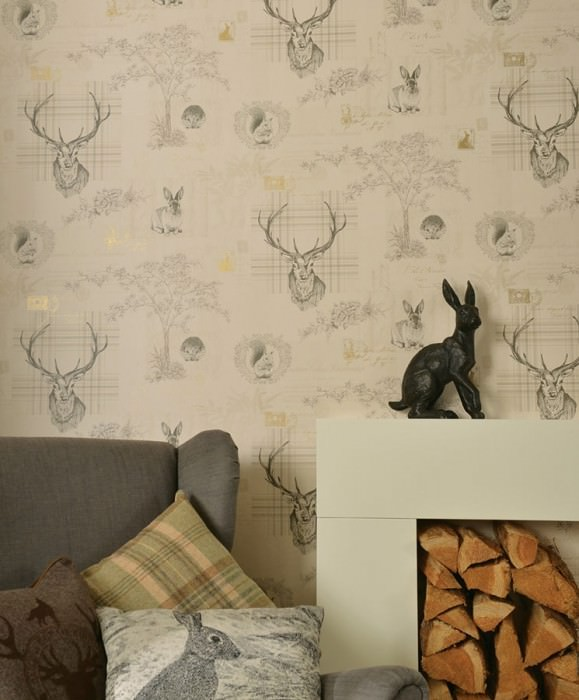 Wallpaper Ubela Matt Trees Leaves Flowers Squirrels Rabbits Deer   Plaid Words Light ivory Beige Gold shimmer Grey Light beige
