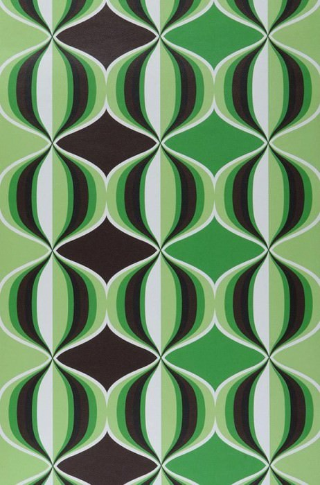 Wallpaper Delos Matt Retro balls Dark brown Yellow green Green Black White