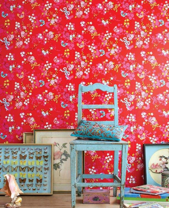 Wallpaper Benina Matt Blossoms Butterflies Branches Red Strawberry red Yellow Yellow green Light blue Pink lustre White