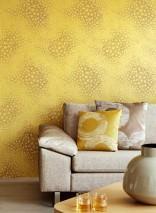 Papel pintado Stopela Patrón mate Superficie base brillante Flores Oro amarillo Gris beige claro  Plata brillantina