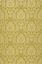 Papier peint Sedan Motif chatoyant Aspect textile Surface mate Damassé baroque Vert jaune Beige brillant