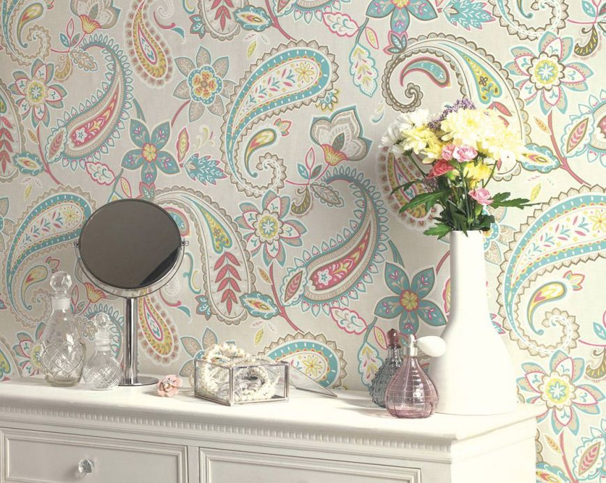 Archiv Wallpaper Delba pastel turquoise Room View