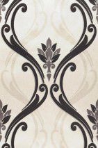 Wallpaper Harmonia Shimmering Baroque damask White gold Grey Light pearl beige Black