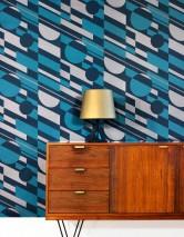 Carta da parati Calimero Opaco Elementi geometrici Arte moderna Blu verdastro Grigio beige perlato lucido Blu turchese
