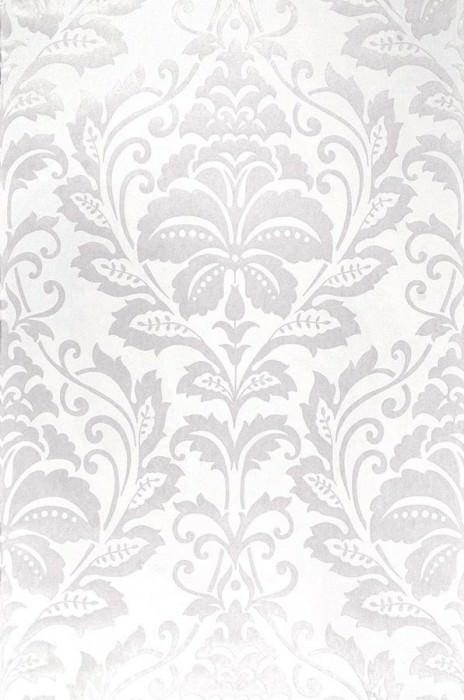 Papel de parede Jumah Padrão brilhante Superfície base mate Damasco floral Branco creme Marfim claro pérola lustre