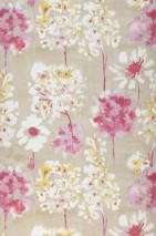 Wallpaper Evote Matt Blossoms Light grey beige Raspberry red Pastel violet White Lemon yellow