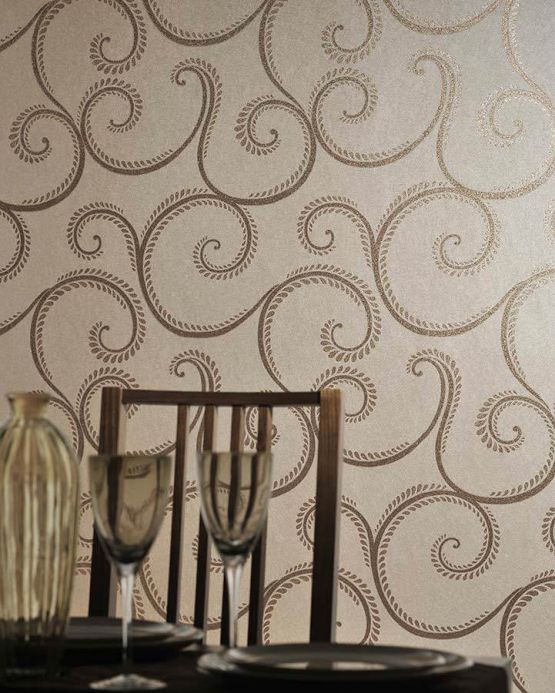 Archiv Wallpaper Balor brown gold Room View