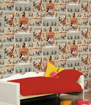 Wallpaper 1930s Mickey Mouse Matt Mickey Mouse Light grey beige Anthracite Light blue Pastel green Red Saffron yellow  Sepia brown