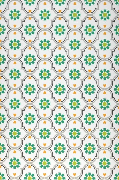 Papel de parede Efigenia Mate Elementos barrocos Flores Corações Estrelas Branco Verde amarelado Verde Cinza musgo Laranja Cinza negrusco