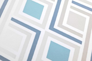 Wallpaper Iroko Matt Graphic elements Rhombuses Grey white shimmer Pastel turquoise White
