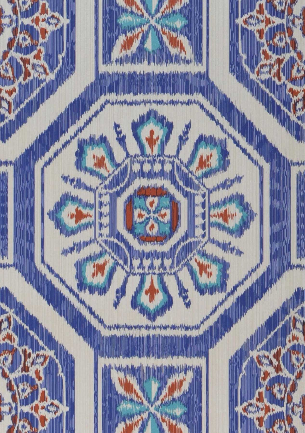 Papel pintado hesperus blanco crema rojo azul turquesa for Papel pintado azul turquesa