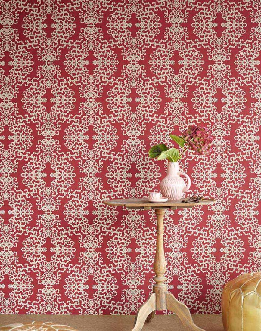 papier peint anahita rouge fonc or blanc papier peint des ann es 70. Black Bedroom Furniture Sets. Home Design Ideas