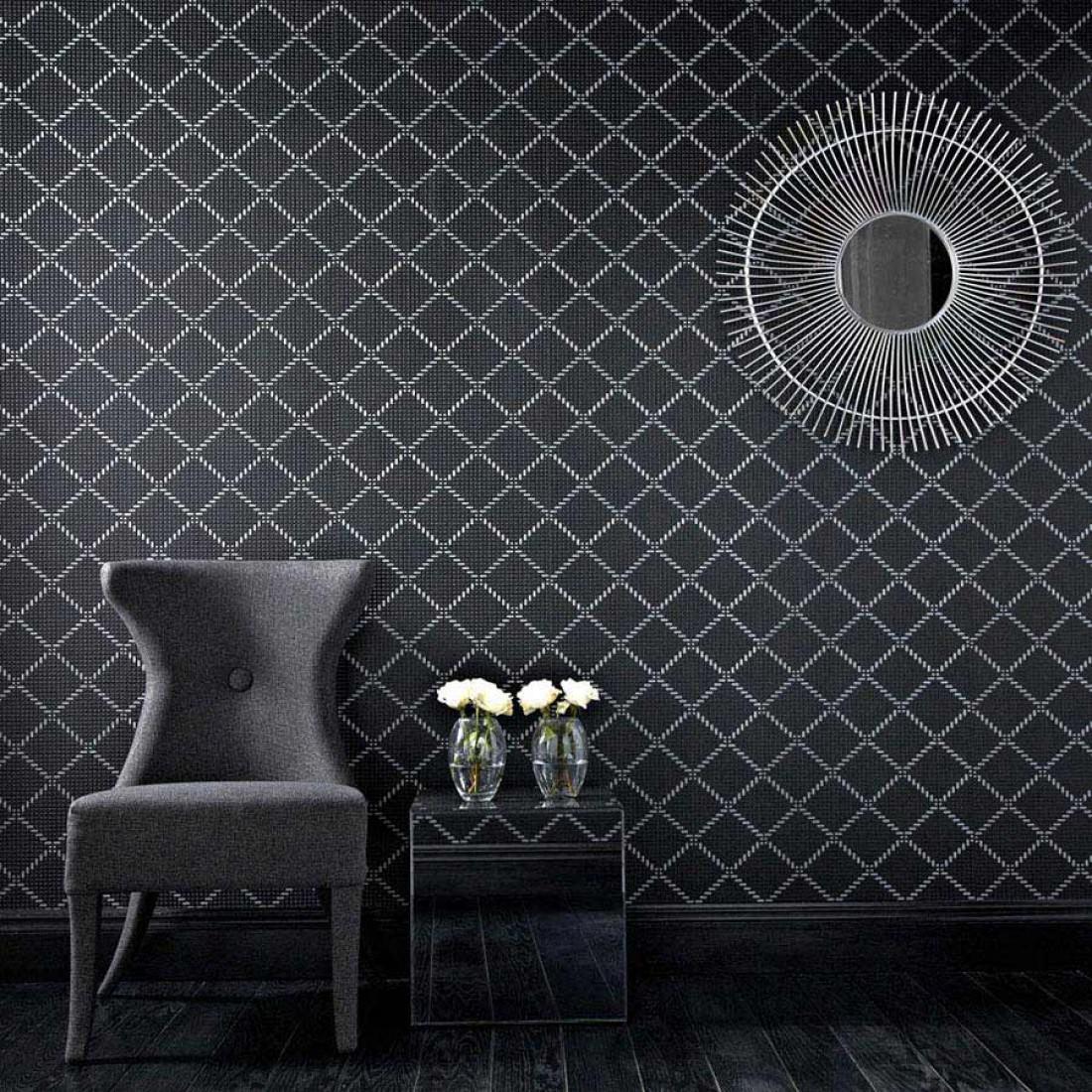 Tapete keres schwarzgrau schimmer silber tapeten der 70er for Black and silver 3d wallpaper