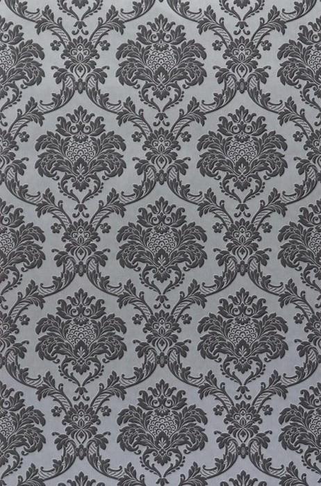 Papel de parede Temet Padrão mate Efeito têxtil  Superficie base brilhante Damasco barroco Cinza prateado