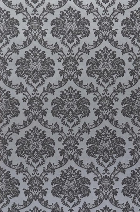 Wallpaper Temet Matt pattern Looks like textile Shimmering base surface Baroque damask Silver grey Grey