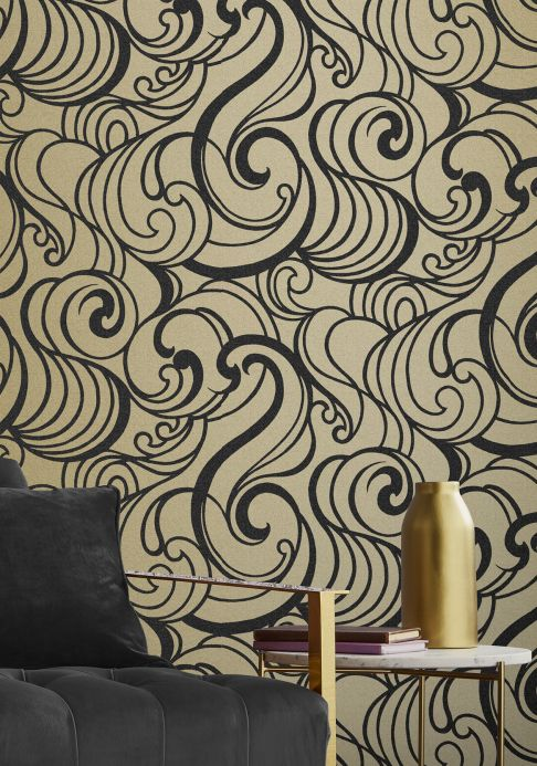 Art Nouveau Wallpaper Wallpaper Madina gold shimmer Room View