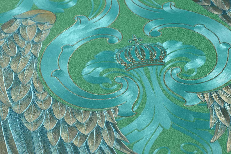 Tapete Morrigan (Grün, Gold, Türkis, Wasserblau)   Tapeten der 70er