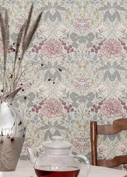 Papel pintado clásico Papel pintado Lovisa tonos de gris Ver habitación