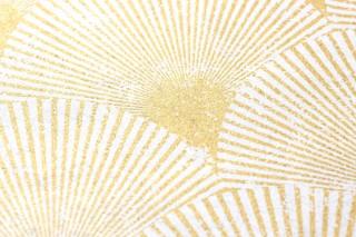 Papel pintado Helene Brillante Abanicos Art Déco Blanco crema perla lustre Oro perla