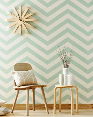 Papel de parede Zag zig verde pastel Ver quarto