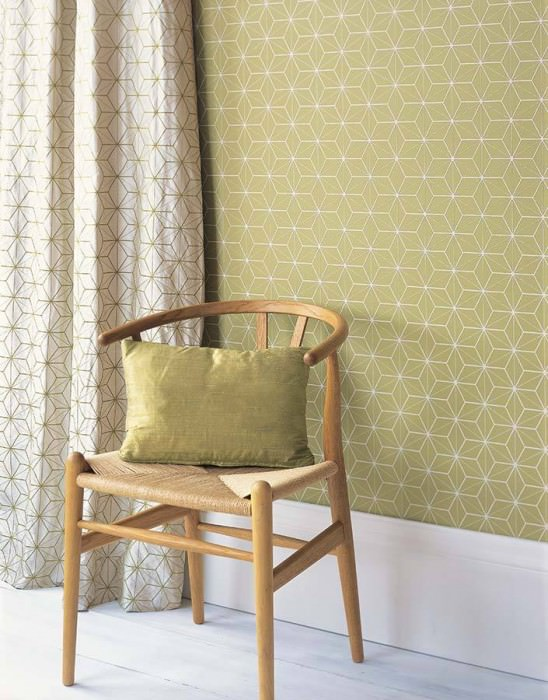 Wallpaper Hemsut Matt Geometrical elements Light green Cream