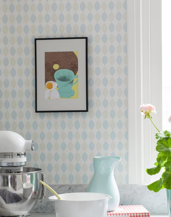 Archiv Wallpaper Elida pale light blue Room View