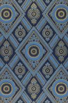Papel pintado William Efecto impreso a mano Mate Damasco histórico Rombos Azul cobalto Azul luminoso Oro brillante