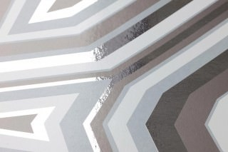 Wallpaper Highway 66 Chrome effect Shiny Geometrical elements Chrome lustre Grey white Quartz grey  Silver grey