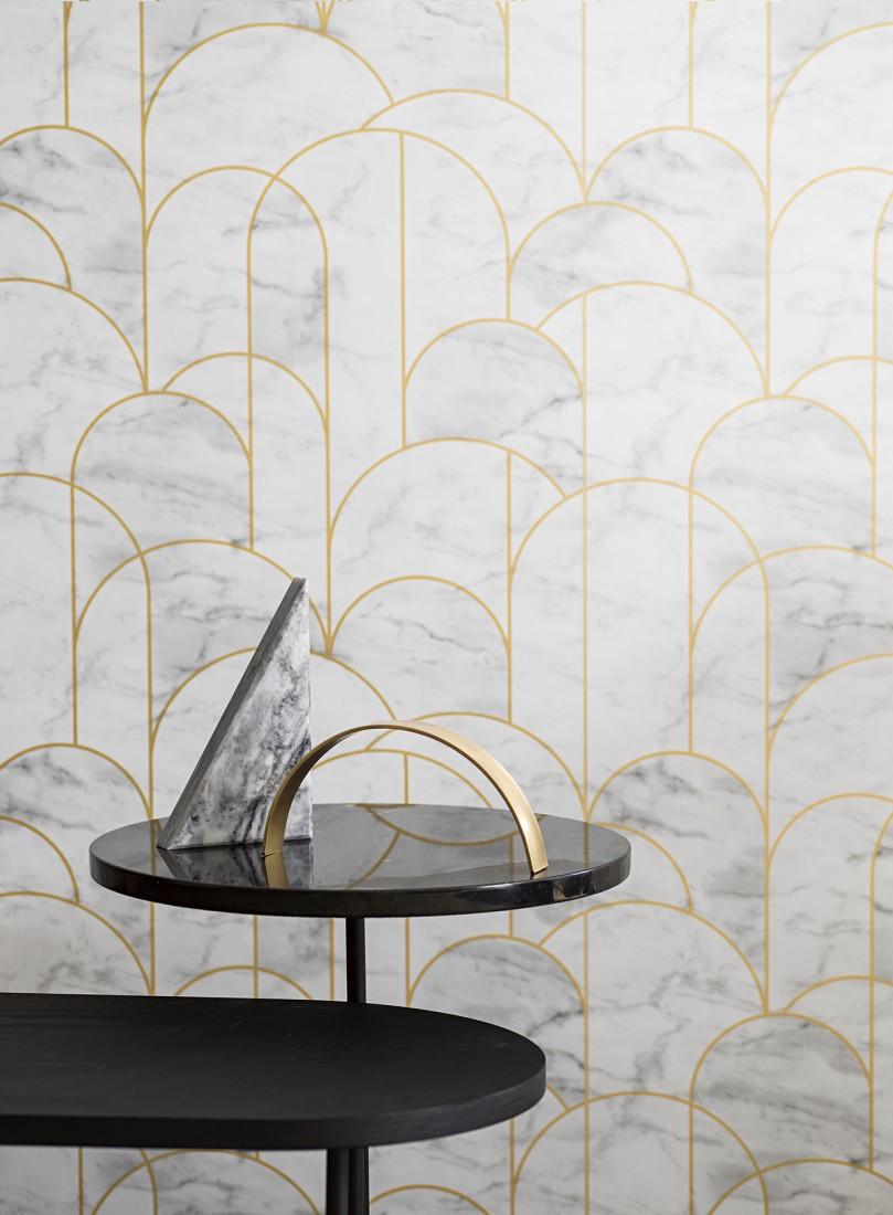 Papier Peint Art Deco Blanc zania