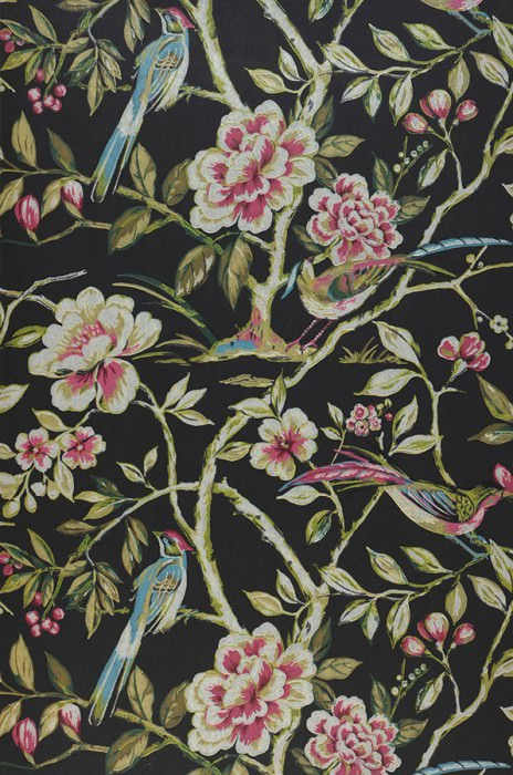 Wallpaper Fatima Hand printed look Matt Lotus branches Birds Black grey Heather violet Grey white Green brown Green yellow Pastel blue