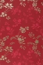 Papel pintado Minerva Patrón brillante Superficie base mate Flores estilizadas Rojo rubí Rojo fresa Oro lustre