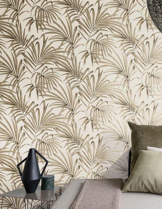 Papel pintado floral Papel pintado Almudena marrón grisáceo Ver habitación