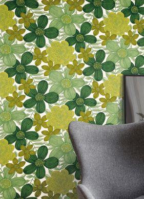 Papel de parede Othilia verde Raumansicht