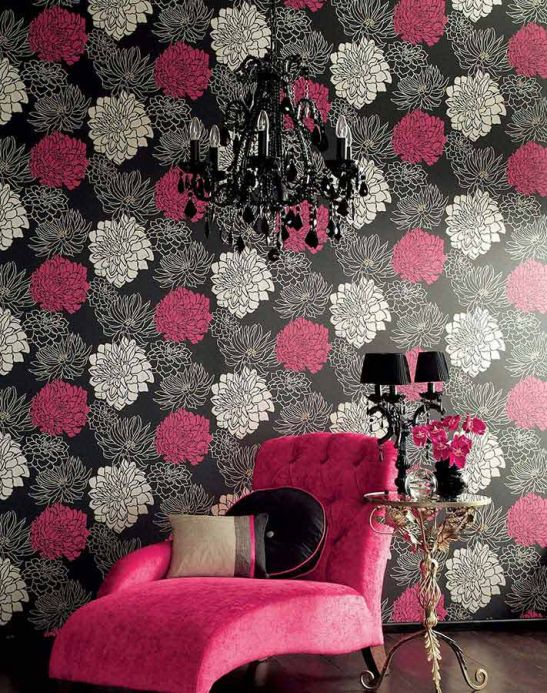 Archiv Wallpaper Malama raspberry red Room View