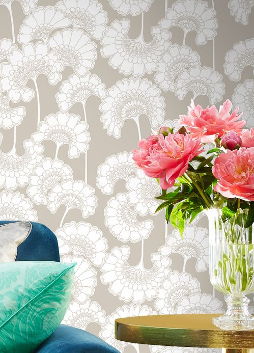Papel pintado floral Papel pintado Ornate gris sílex Ver habitación