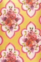 Wallpaper Malona Matt Flower bouquets Floral damask Green yellow shimmer Cream Lavender Red Red violet