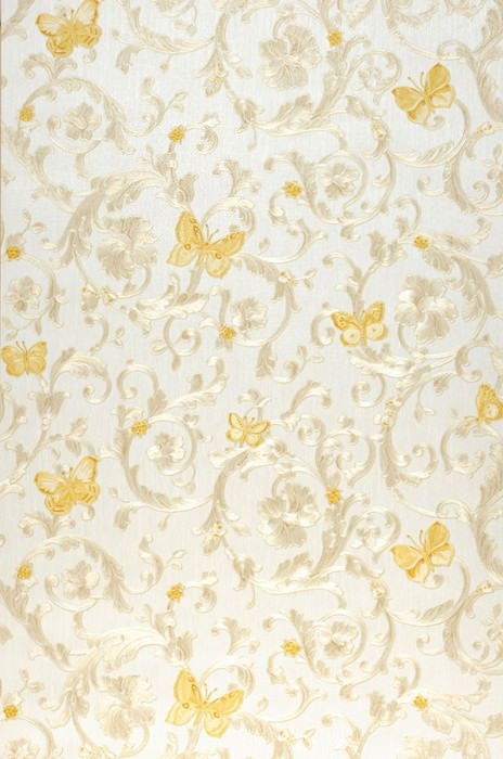 Wallpaper Glory Shimmering pattern Matt base surface Floral damask Bugs Butterflies Cream Beige shimmer Cream shimmer Golden yellow