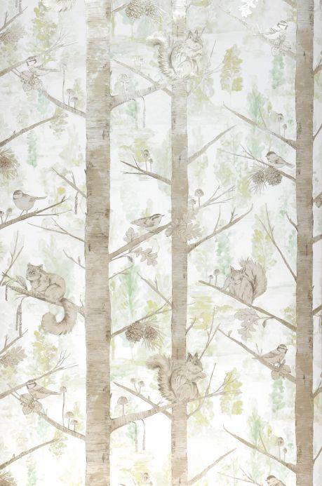 Papel de parede botânico Papel de parede Haylie cinza pardo Largura do rolo