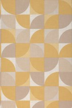 Wallpaper Junimo Matt Graphic elements Retro design Brown tones Ochre yellow Sand yellow