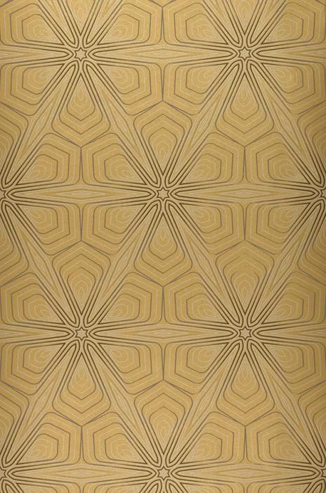 Papel pintado Silenus Mate Elementos gráficos Oro Gris teja Gris negruzco Plata