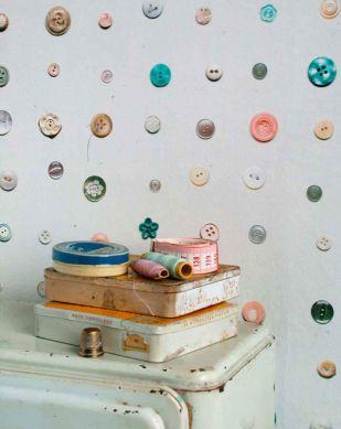 Papier peint Button turquoise Vue pièce